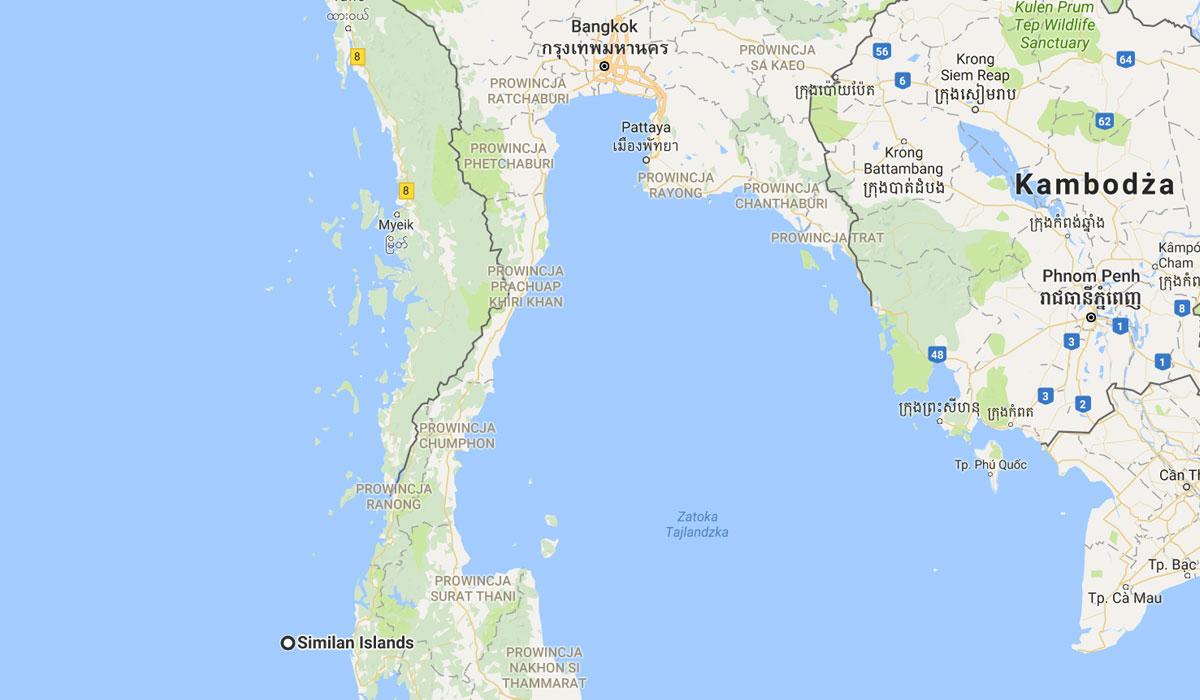 mapa Tajlandia Malezja podrozowanie prom jak sie dostac dojechac wyspy