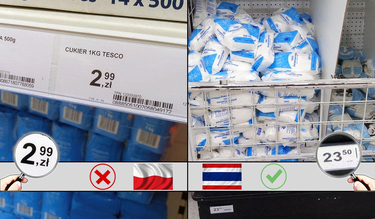ceny tajlandia cukier zakupy baht