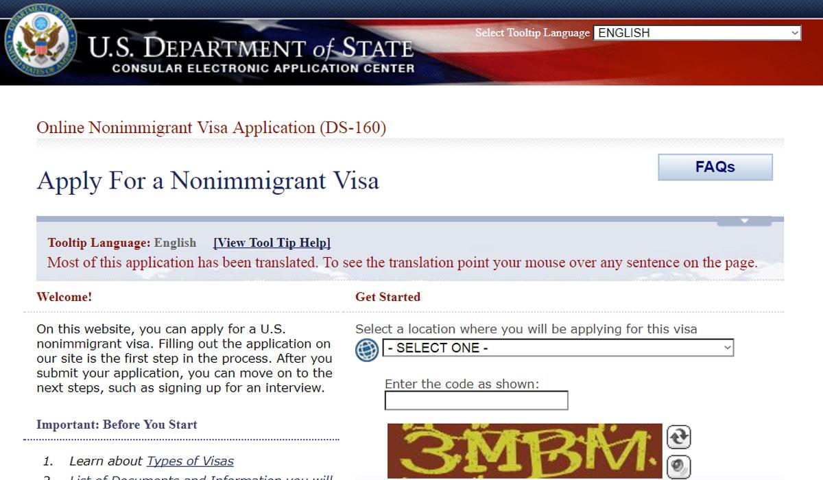 wiza do stanów usa ambasada DS 160 aplikacja