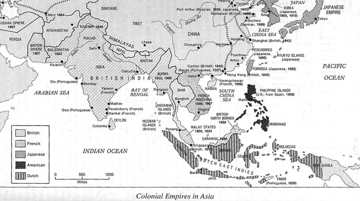 mapa tajlandia kolonizacja historia